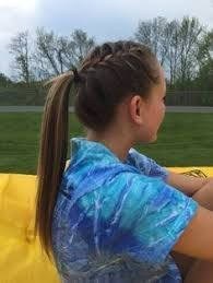 Image Result For Girls Lacrosse Hairstyles Braids For Sports Lacrosse Braids For Sports Lacrosse In 2020 Hair Styles Sporty Hairstyles Volleyball Hairstyles