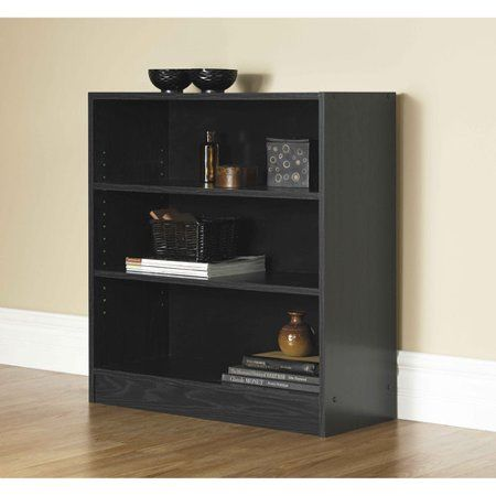 Home 3 Shelf Bookcase Wide Bookcase Black Bookshelf