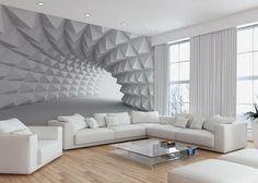 Wand Mit Fototapete Gestalten Minimalistische Tunnel Design