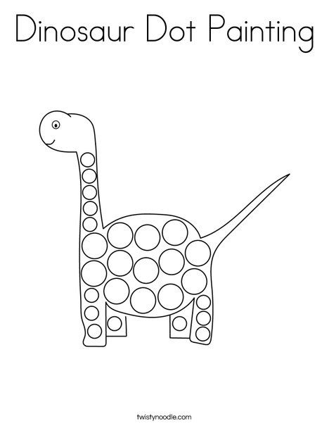 Dinosaur Dot Painting Coloring Page Twisty Noodle Dot Painting