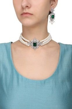 b8a3dbc713035 Aster Silver Finish White and Green Zircons and Pearl Strand Choker ...