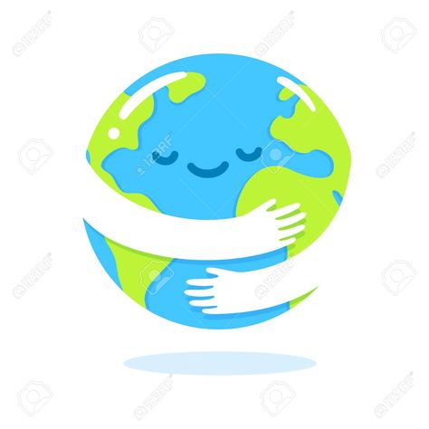 Save the planet, Earth hug drawing. Cute cartoon Earth Day vector ...