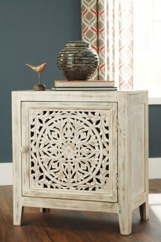 Fossil Ridge White Accent Cabinet Accent Cabinet Wood Doors Interior Furniture