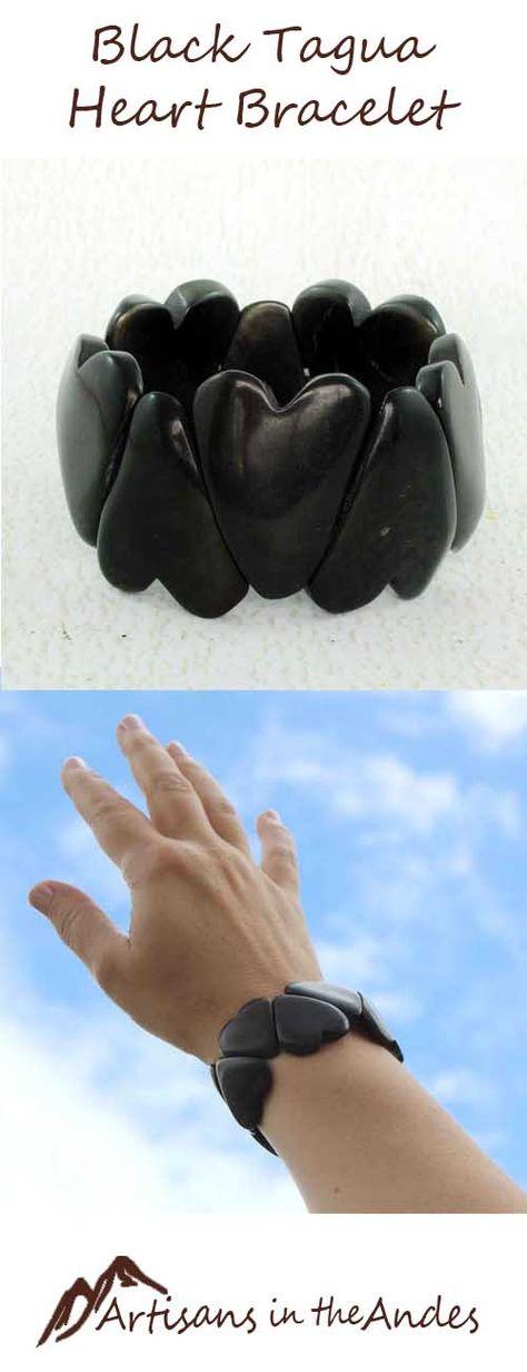 Heart Bracelet - Tagua Nut - Womens Gift Ideas - Rustic Bracelet - Chunky Bracelet - Black Chunky Bracelet - Gift Ideas for Mom 2540