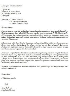 Contoh Surat Penawaran Barang Jasa Surat Proposal