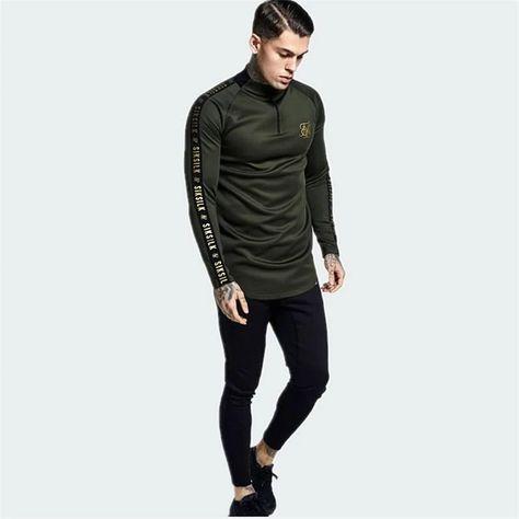 Men Sik Silk Embroidery Fashion Elastic Long Sleeve T-Shirt