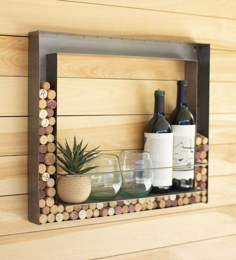 Form meets function with this elegant Wall Bar and Wine Cork Holder. Store your wine bottles and glasses, and when you are done with your favorite wine, toss the cork into the frame for an added textured look. Features a small metal bar attached to keep shelf items in place. A perfect gift for any wine enthusiast as a housewarming, bridal shower, wedding, or birthday gift. V5297,Wall Bar and Wine Cork Holder,cork holders,wine cork holders,wall cork holders,cork a