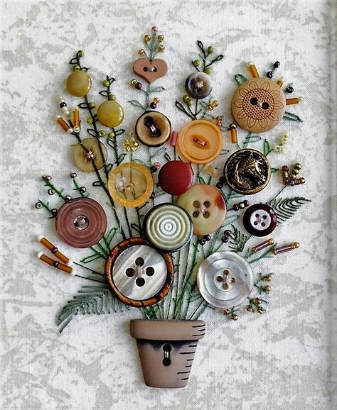 Flower-Button-Art-Card-for-Mothers-Day Kreative Weihnachtskarten Basteln - DIYDE. Crafts To Make, Crafts For Kids, Arts And Crafts, Paper Crafts, Art Crafts, Button Bouquet, Button Flowers, Diy Buttons, Vintage Buttons