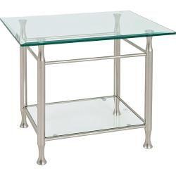 Xxxlutz Beistelltisch Rechteckig Silber Metall Glas 58x52x43 Cm