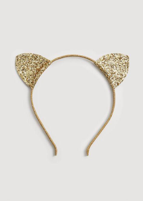 Mango Glitter Ears Hairband Girls | Kids Gold One Size