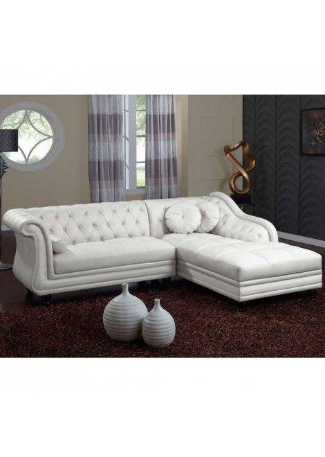 Canapé d\'angle Isium Blanc style Chesterfield | Canapé d ...