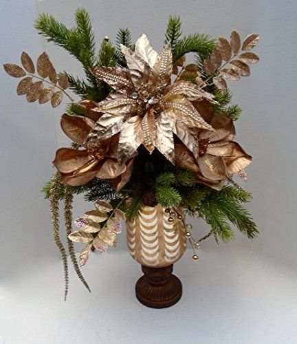 Amazing Christmas Floral Arrangement featuring Copper Blooms This