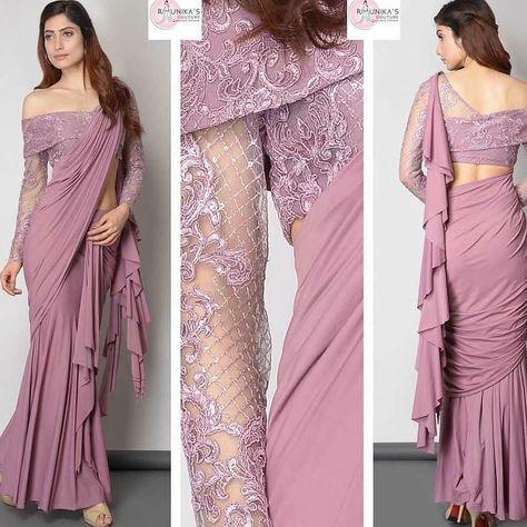 off shoulder saree silk blouse design