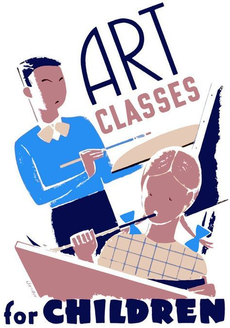 Children Painting Art Classes For Children Wpa Posters