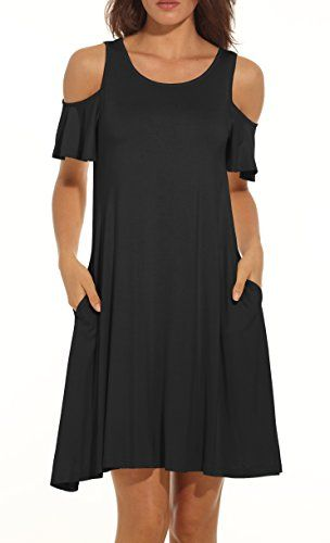 Kancystore Womens Plus Size Summer Cold Shoulder Tunic Top Swing T-Shirt Loose