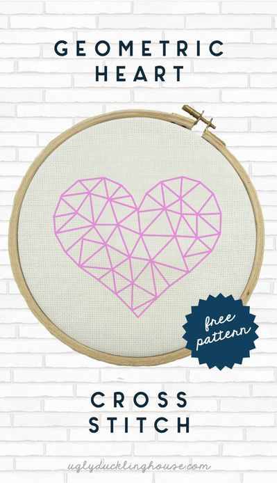 This ombre geometric heart design is great for Valentine's Day, but it would look fantastic as part of a gallery wall too. #crossstitch #xstitch #valentinesdaycrafts #easycrafts #gallerywall #geometric