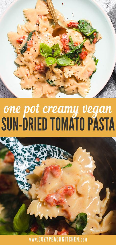 Vegan Sun-Dried Tomato Pasta is made in one pot using bowtie pasta, oat milk and a handful of pantry staples for a creamy & dairy-free dinner! #veganrecipes #dairyfree #onepotpasta #weeknightdinner
