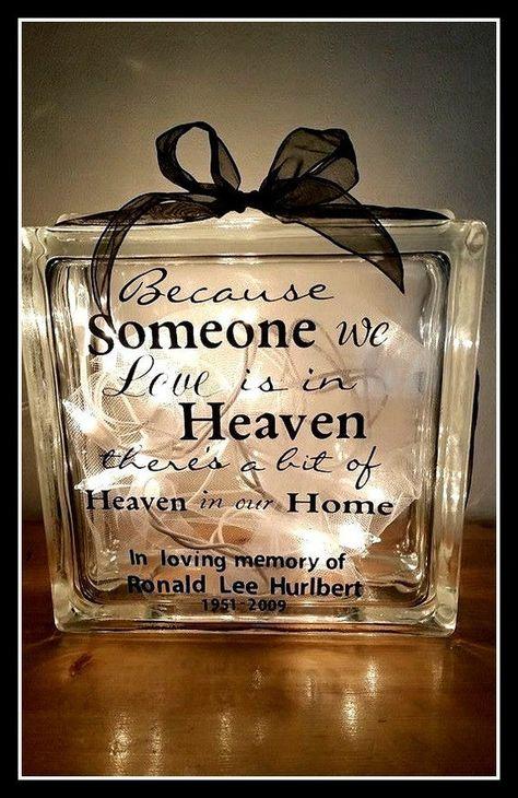 Memorial Glass Blocks sympathy gift Personalized glass | Etsy