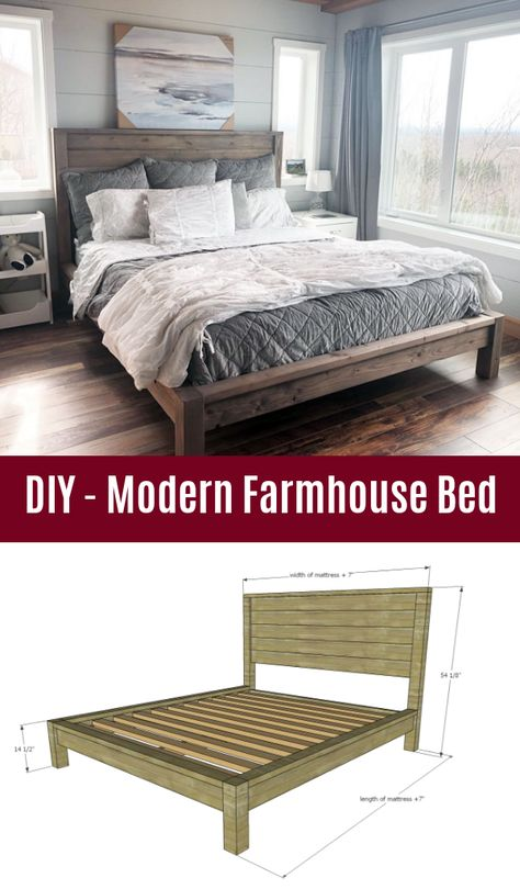 """DIY - Modern Farmhouse Bed I still wanted that """"farmhouse"""" look – the squ. DIY - Modern Farmhouse Bed I still wanted that """"farmhouse"""" look – the square styling, the planked headboard, the beefy l Farmhouse Style Bedding, Farmhouse Bedroom Decor, Farmhouse Furniture, Furniture Plans, Bedroom Furniture, Italian Furniture, Farmhouse Bed Frames, King Farmhouse Bed, Farmhouse Headboards"""