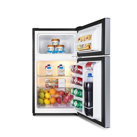 Hisense 3 2 Cu Ft Two Door Mini Fridge W Freezer Rt32d6ase Stainless Walmart Com In 2020 Mini Fridge With Freezer Mini Fridge Top Freezer Refrigerator