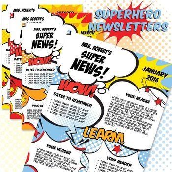 Classroom Newsletter Template - Superhero Newsletter MS Word - free school newsletter templates for word