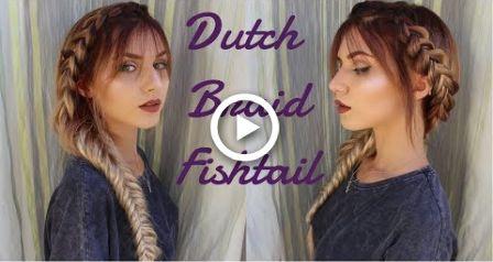 Messy Dutch Braids Into Fishtail Braid Ft Bangs Stella Hair