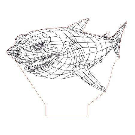 Angry Shark 3d Illusion Lamp Plan Vector File For Laser And Cnc 3bee Studio 3d Illusion Lamp 3d Illusions Illusions