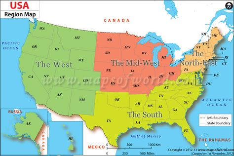 The UnitedStates Regions Map Displays Several Geographic - Usa map north south east west