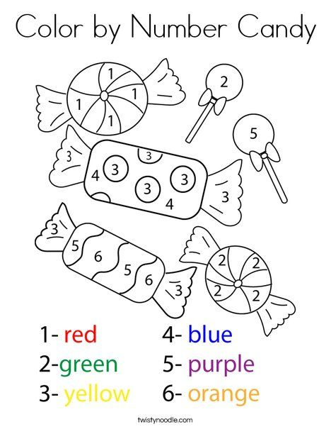 Color By Number Candy Coloring Page Twisty Noodle Kindergarten Coloring Pages Numbers Preschool Candy Coloring Pages