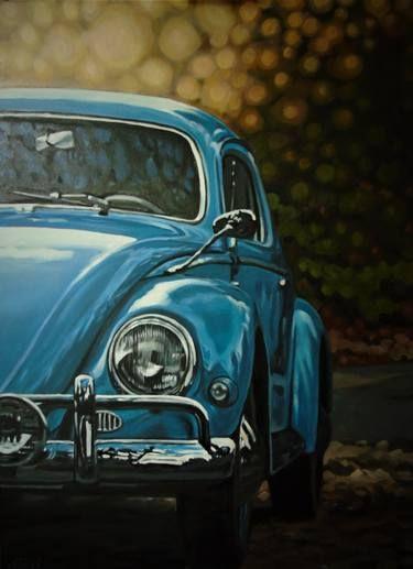 Blue Beetle Cars : beetle, Beetle, Painting, Painting,, Volkswagen, Vintage,