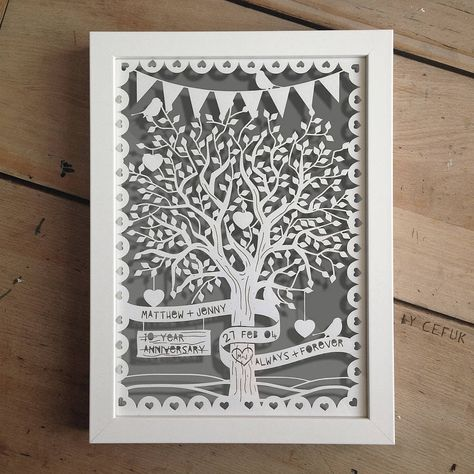 personalised love tree papercut with bunting by papercuts by cefuk   notonthehighstreet.com