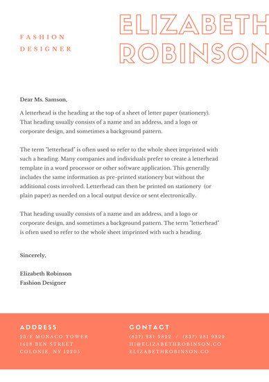 Orange Modern Fashion Designer Personal Letterhead Letterhead