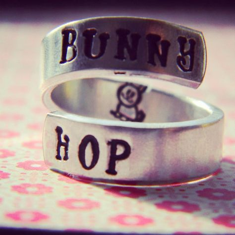 Bunny hop  cute rabbit  spiral hand stamped ring by LindaMunequita