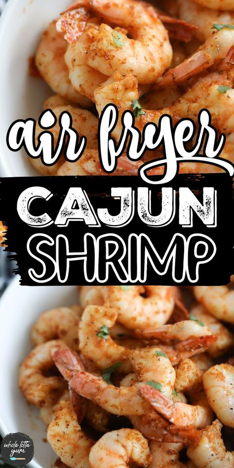 Healthy air fryer shrimp with cajun seasoning and no breading. You'll love this shrimp in air fryer recipe for a healthy seafood dinner.