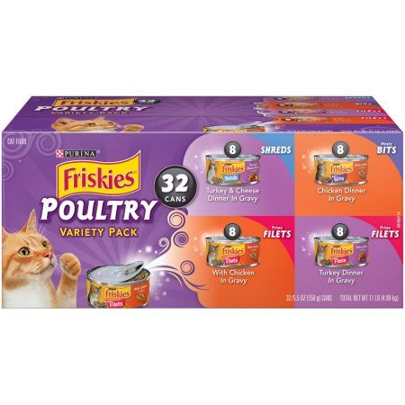 32 Pack Friskies Gravy Wet Cat Food Variety Pack Poultry Shreds Meaty Bits Prime Filets 5 5 Oz Cans Walmart Com Canned Cat Food Purina Friskies Wet Cat Food
