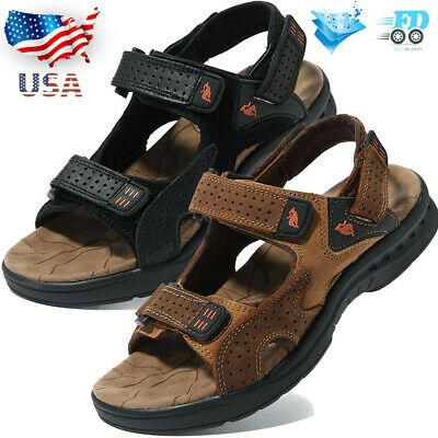 Men/'s Leather Fisherman Sandals Adjust Strap Open Toe Sport Beach Walking Shoes