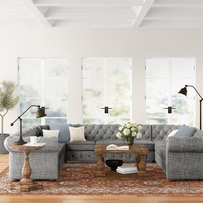 Three Posts Gowans Symmetrical Sectional Upholstery Color Pewter Gray Linen Sectional Large Sectional Sectional Sofa Couch
