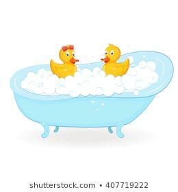 Yellow Bath Duck Bathroom Tub Foam Stock Illustration 1504568900 Duck Drawing Illustration Vector Illustration