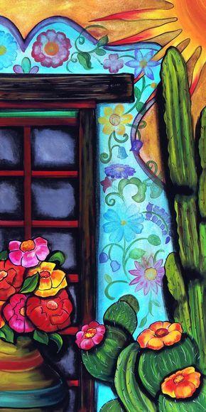 Flores De Pared Fondo De Arte Cuadro Mexicano Produccion Artistica