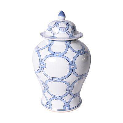 Blue and White Lover Locks Handmade Porcelain Temple Jar