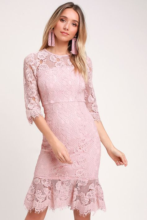 aa84caf9510c Isla Pink Lace Halter Midi Dress in 2019 | Outfit Idea for winter | Dresses,  Pink lace, Hot pink dresses
