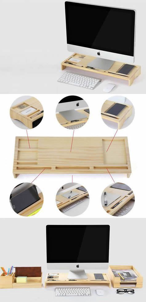 Bamboo Wood Monitor Imac Stand Holder Office Desk Organizer Business Card Holder Pen Pencil Holder Stand Stat Desk Organization Cool Office Supplies Imac Stand