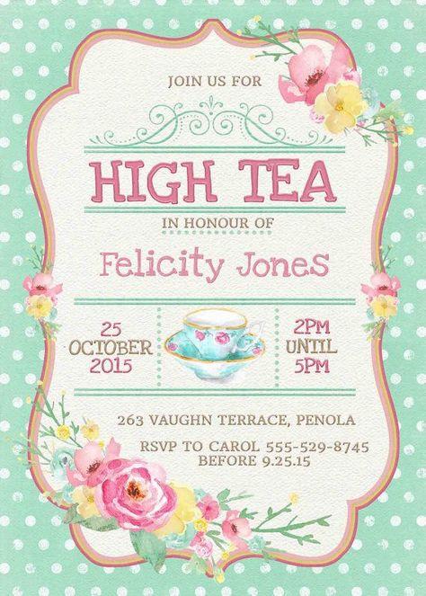 Printable High Tea Invitations