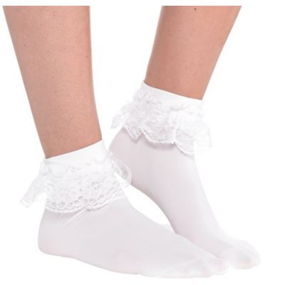 Costumes Bobby Socks Party City - Bobby Socks are trimmed with white lace around the top. Ruffled white socks are a sweet addition to your sock hop costume or school girl costume. Sock Hop Costumes, Grease Costumes, Girl Costumes, Costumes For Women, 1950s Costumes, Mermaid Costumes, Pirate Costumes, Couple Costumes, Group Costumes