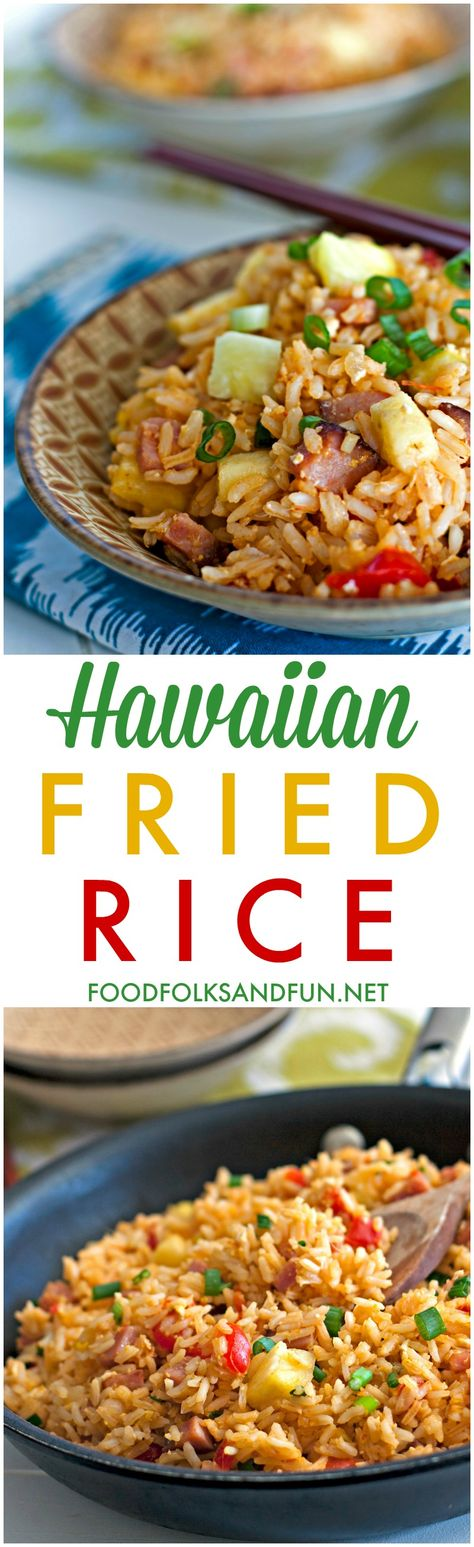 Put those holiday ham leftovers to good use by making this Hawaiian Fried Rice recipe. It's quick, easy and SO delicious!  [ad]