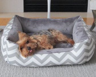 One Piece 24 X 19 Dog Bed Cat Bed Gray White With Minky Fleece On Etsy 79 00 Dog Bed Cat Bed Beautiful Dog Beds