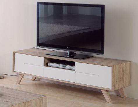 Meuble Tv Scandinave Laque Blanc Et Couleur Bois Lars Meuble Tv Scandinave