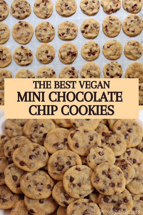 The perfect little bites of heaven. These vegan chocolate chip cookies are so delicious! Vegan Baking Recipes, Vegan Dessert Recipes, Healthy Desserts, Yummy Snacks, Delicious Desserts, Vegan Treats, Vegan Foods, Biscuits Végétaliens, Vegan Chocolate Chip Cookies