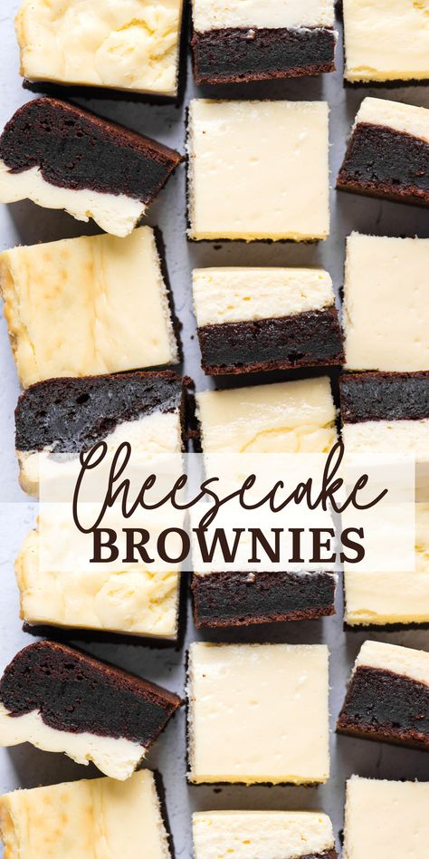 Cheesecake brownies are made of 2 decadent layers - a rich, fudgy brownie layer and a classic cheesecake layer. Our family loves these brownie bottom cheesecake bars - the brownie layer is so chocolatey and complements the cheesecake layer! #cheesecakebrownies #brownies #bars