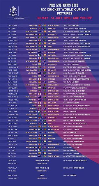 World Cup 2019 Match Schedules All Sports Match Schedule Match World Cup